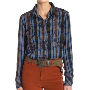 FREE PEOPLE NWT plaid embroidered button down top